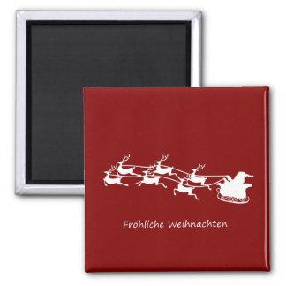 Aimant Père Noël sur Sleigh Fröhliche Weihnachten