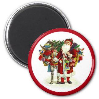Aimant Père Noël victorien et âne