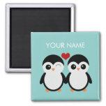 Aimant personnalisable de couples de pingouin