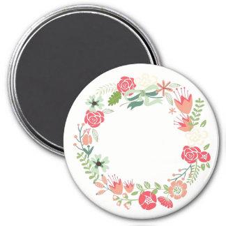 Aimant personnalisable de guirlande florale rose