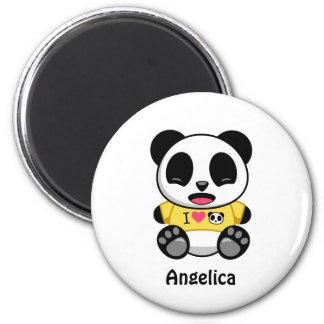 Aimant Petit panda mignon sur le blanc