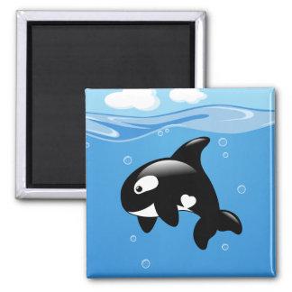 Aimant Petite baleine mignonne d'orque dans l'océan