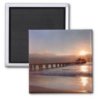 Aimant Pilier de plage au coucher du soleil, Hawaï