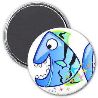 Aimant Piranha tropical bleu avec des étoiles