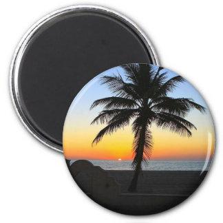 Aimant Plage de sable de ciel de palmier d'aube d'aube de