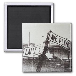 Aimant Plaque de rue noire et blanche