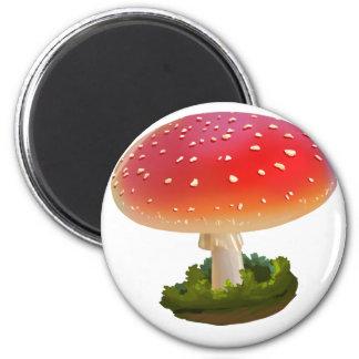 Aimant Points rouges de blanc d'art de champignon
