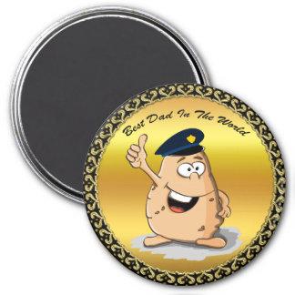 Aimant Pomme de terre de policier avec un casquette bleu