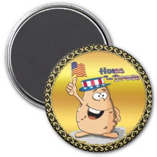 Aimant Pomme de terre patriotique avec le casquette