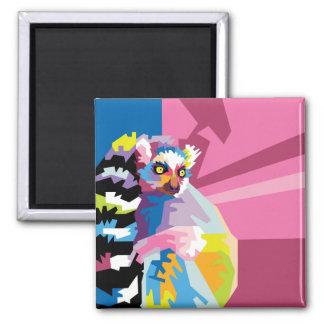 Aimant Portrait coloré de lémur d'art de bruit