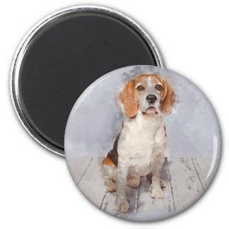 Aimant Portrait mignon d'aquarelle de beagle