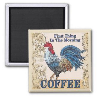 Aimant Poules bleues, café de matin