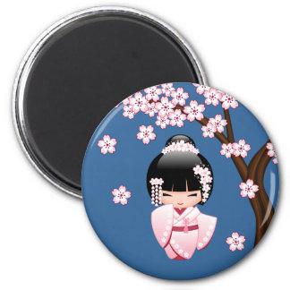 Aimant Poupée blanche de Kokeshi de kimono - fille de