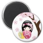 Aimant Poupée de Kokeshi de ressort - fille de geisha