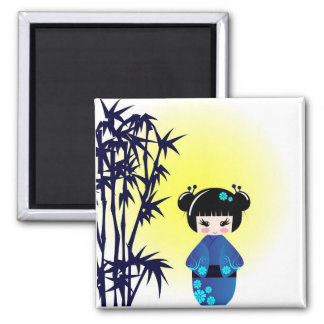 Aimant Poupée et bambou de Kokeshi