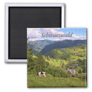 Aimant prés verts et une vache avec la vue de panorama