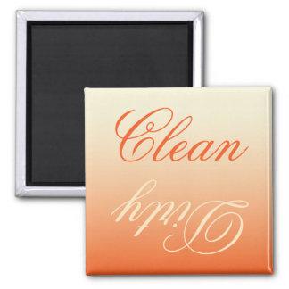 Aimant propre/sale de lave-vaisselle crème orange