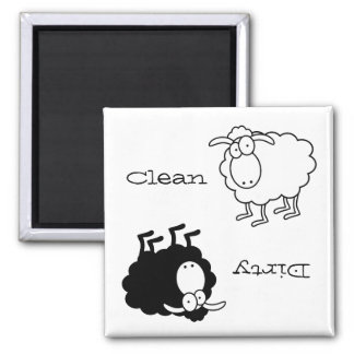 Aimant Propre-Sale de moutons noirs et blancs