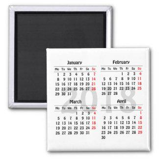 Aimant Quatre mois 2018 de calendrier