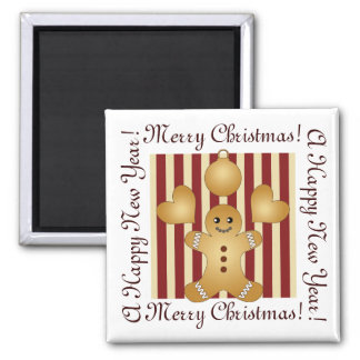 Aimant Rayures rouges de biscuits de vacances de Noël