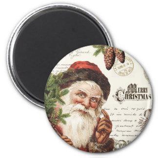 Aimant région boisée vintage Père Noël