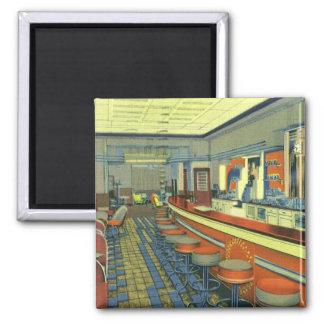 Aimant Restaurant vintage, rétro intérieur de
