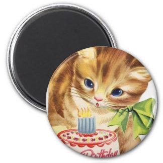 Aimant Rétro salutation vintage de gâteau d'anniversaire