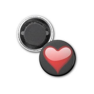 Aimant rond de coeur rouge