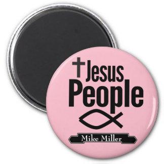 Aimant rond de personnes Editable de Jésus