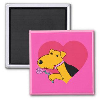 Aimant rose du chien W Valentine d'Airedale