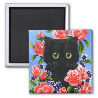 Aimant Roses drôles Creationarts de chat noir