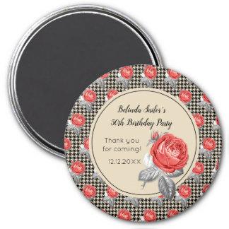 Aimant Roses roses et anniversaire de pied-de-poule