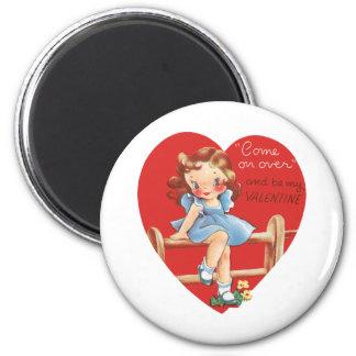 Aimant Saint-Valentin mignonne vintage, fille sur la