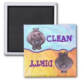 Aimant sale/propre d'hippopotame de lave-vaisselle