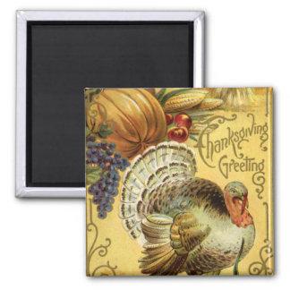 Aimant Salutation vintage de thanksgiving avec la Turquie