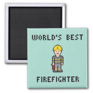 Aimant Sapeur-pompier du monde de pixel le meilleur