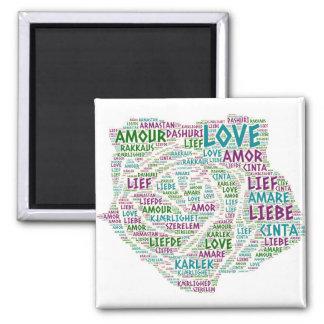 Aimant S'est levé illustré avec le mot d'amour