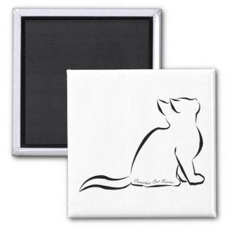 Aimant Silhouette de chat noir, texte intérieur