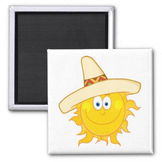 Aimant sombrero de port de sourire du soleil