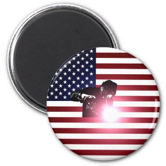 Aimant Soudeuse et drapeau américain