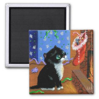 Aimant Souris drôle Creationarts de chat noir de Noël
