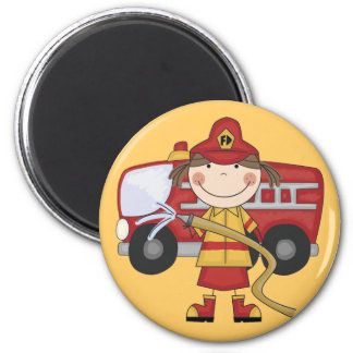 Aimant T-shirts et cadeaux femelles de sapeur-pompier