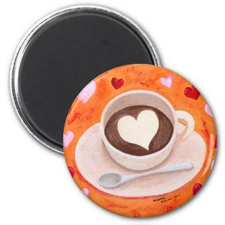 Aimant Tasse de café avec des coeurs