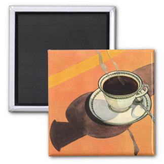 Aimant Tasse de café vintage, soucoupe, cuillère avec