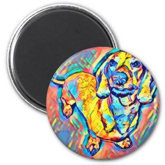 Aimant Teckel coloré d'art de bruit
