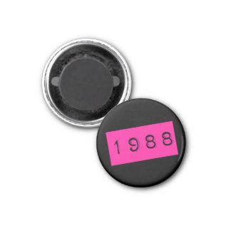 Aimant Thème rose des 1988 années 80 d'anniversaire