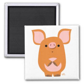 Aimant timide de coutume de porc de bande dessinée
