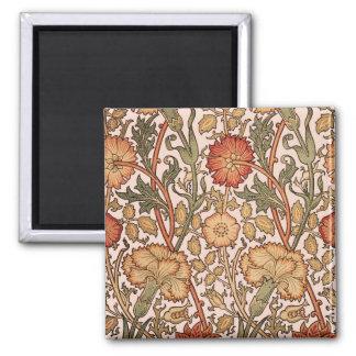 Aimant Tissu rose vintage de concepteur de motif floral