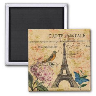 Aimant Tour Eiffel français de Paris d'oiseau d'hortensia