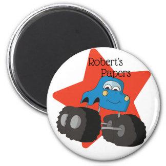 Aimant Travail scolaire bleu d'art de camion et d'étoile